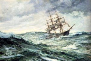 Ship stormy sea