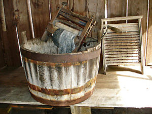 old washtub clothes